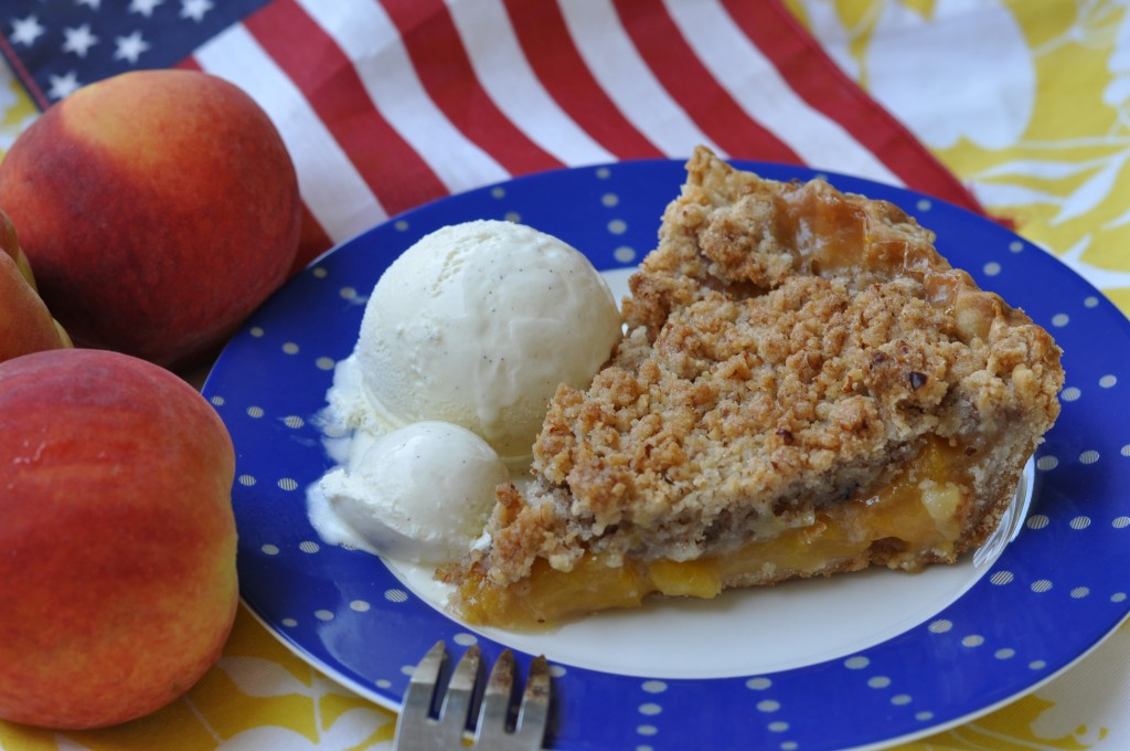 Peach Lemonade Pie with Pecan Crumble Topping