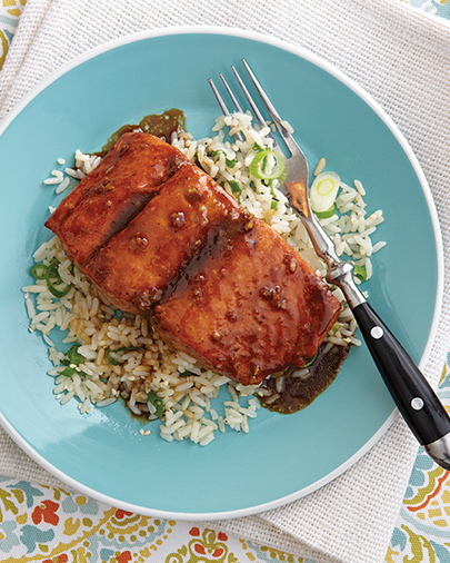 Bourbon and Brown Sugar-Glazed Salmon from COMFORT FOOD