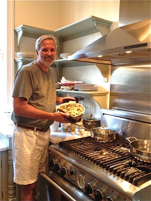 Me in the kitchen, cooking yet another meal at our Lowcountry Pie Getaway. No place I'd rather be.