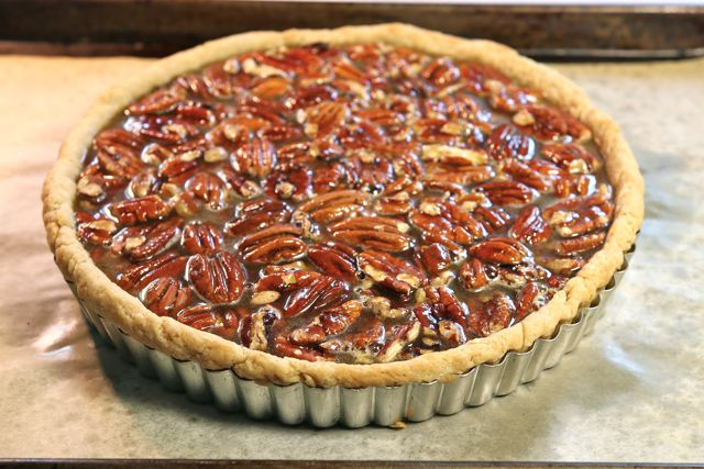 Pecans and filling all set to go in this perfect pecan pie