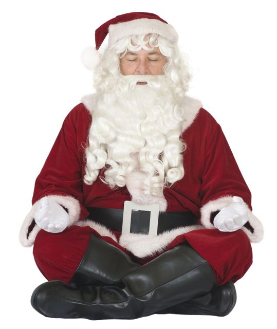 Santa meditating at The Pie Academy