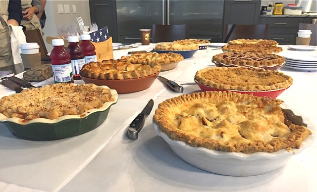 Pies on table