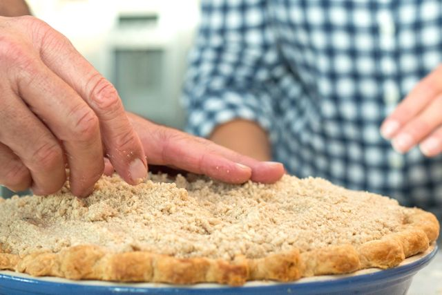 Adding the crumb topping