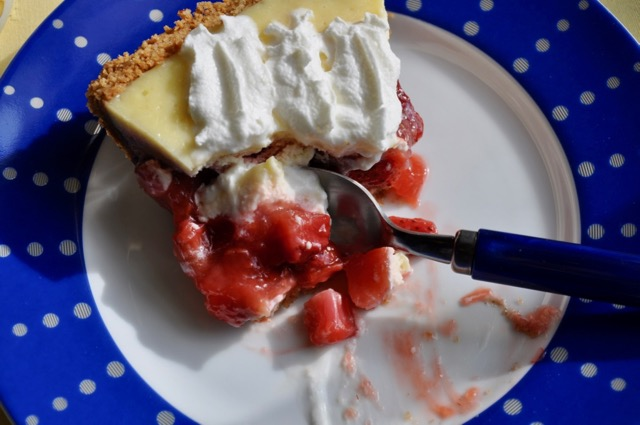 Strawberry Rhubarb Custard Pie with Graham Cracker Pecan Crust