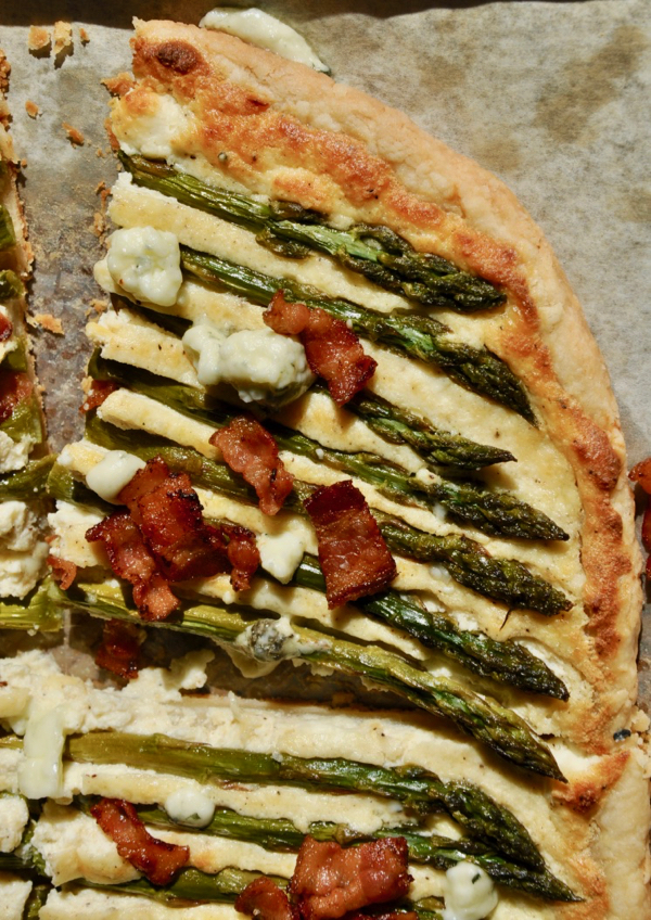 Asparagus Tart with Bacon and Blue Cheese from The Pie Academy