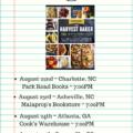The Harvest Baker Southeast Book Tour Schedule