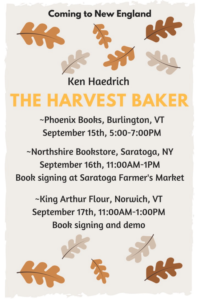 The Harvest Baker events in New England