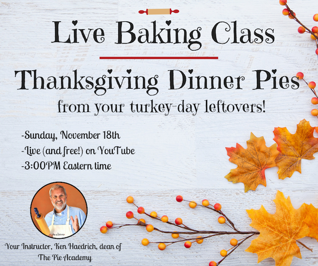 Free baking class at The Pie Academy on Thanksgiving dinner pies