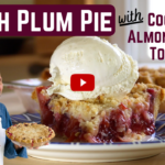 Fresh Plum Pie with Coconut Almond Crumb Topping